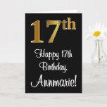 [ Thumbnail: 17th Birthday ~ Elegant Luxurious Faux Gold Look # Card ]