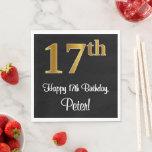 [ Thumbnail: 17th Birthday ~ Elegant Luxurious Faux Gold Look # Napkins ]