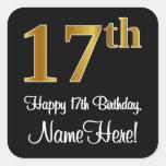 [ Thumbnail: 17th Birthday – Elegant Luxurious Faux Gold Look # Sticker ]