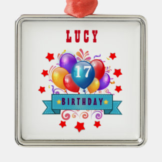 17th Birthday Festive Balloons and Red Stars 105Z Square Metal Christmas Ornament
