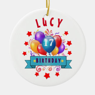 17th Birthday Festive Balloons and Red Stars 105Z Double-Sided Ceramic Round Christmas Ornament