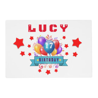 17th Birthday Festive Balloons and Red Stars 105Z Placemat