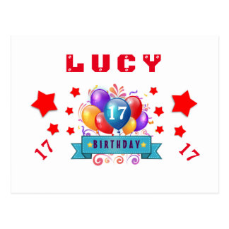 17th Birthday Festive Balloons and Red Stars 105Z Postcard