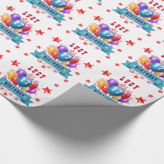 17th Birthday Festive Balloons and Red Stars 105Z Wrapping Paper