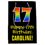 "[ Thumbnail: 17th Birthday: Fun, Bold, Colorful, Rainbow ""17"" Gift Bag ]"