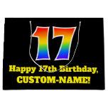[ Thumbnail: 17th Birthday ~ Fun, Colorful, Vibrant, Rainbow 17 Gift Bag ]