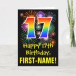 [ Thumbnail: 17th Birthday: Fun Fireworks Pattern + Rainbow 17 Card ]