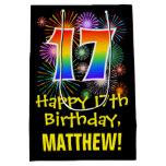 [ Thumbnail: 17th Birthday: Fun Fireworks Pattern + Rainbow 17 Gift Bag ]