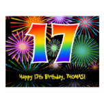 [ Thumbnail: 17th Birthday – Fun Fireworks Pattern + Rainbow 17 Postcard ]
