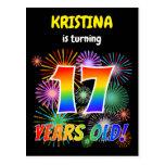 "[ Thumbnail: 17th Birthday - Fun Fireworks, Rainbow Look ""17"" Postcard ]"