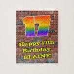 [ Thumbnail: 17th Birthday: Fun Graffiti-Inspired Rainbow 17 Jigsaw Puzzle ]