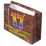 [ Thumbnail: 17th Birthday: Fun, Graffiti-Inspired Rainbow # 17 Gift Bag ]
