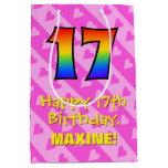 [ Thumbnail: 17th Birthday: Fun Pink Hearts Stripes; Rainbow 17 Gift Bag ]