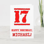 [ Thumbnail: 17th Birthday: Fun, Red Rubber Stamp Inspired Look Card ]