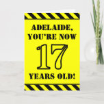 [ Thumbnail: 17th Birthday: Fun Stencil Style Text, Custom Name Card ]