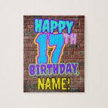 [ Thumbnail: 17th Birthday ~ Fun, Urban Graffiti Inspired Look Jigsaw Puzzle ]