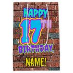 [ Thumbnail: 17th Birthday: Fun, Urban Graffiti Inspired Look Gift Bag ]