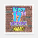 [ Thumbnail: 17th Birthday ~ Fun, Urban Graffiti Inspired Look Napkins ]