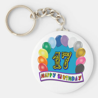 17th Birthday Gifts with Assorted Balloons Design Basic Round Button Keychain