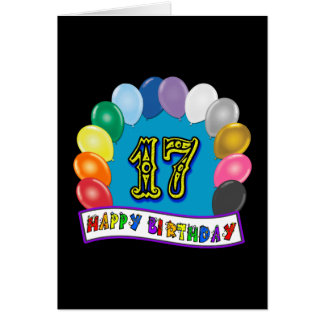 17th Birthday Gifts with Assorted Balloons Design Card