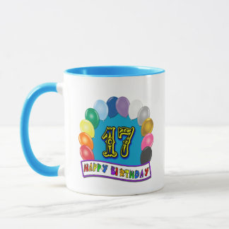 17th Birthday Gifts with Assorted Balloons Design Mug