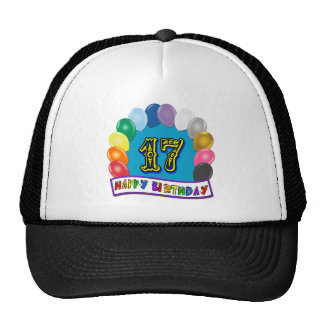 17th Birthday Gifts with Assorted Balloons Design Trucker Hat