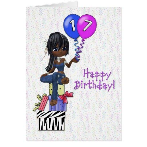 17th Birthday Girl Greeting Card