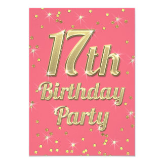 17th Birthday Gold Bling Typography Confetti Pink Card
