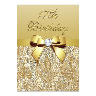 17th Birthday Gold Faux Sequins and Bow Card