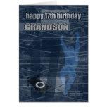 17th Birthday Grandson Modern Design Greeting Card