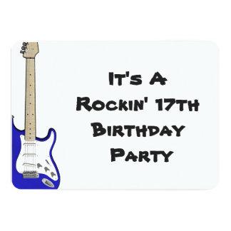 17th Birthday Invitation, blue and white guitar. 5x7 Paper Invitation Card