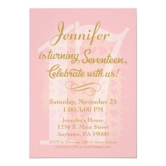17th Birthday Invitation Girls Pink Gold Hearts