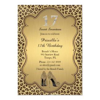 17th Birthday invitation, numbers diamonds,Cheetah Card
