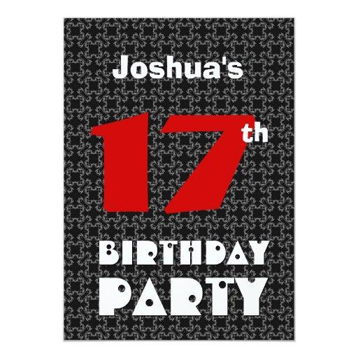 17th Birthday Modern Teen Black and White Pattern Card