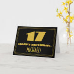 "[ Thumbnail: 17th Birthday: Name + Art Deco Inspired Look ""17"" Card ]"
