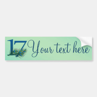 17th birthday or anniversary peacock numbers car bumper sticker