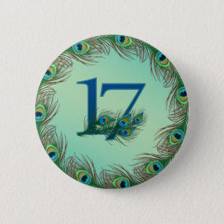 17th birthday or anniversary peacock numbers button