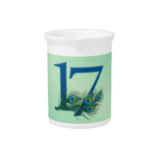 17th birthday or anniversary peacock numbers drink pitcher