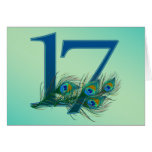 17th birthday or anniversary peacock numbers greeting card