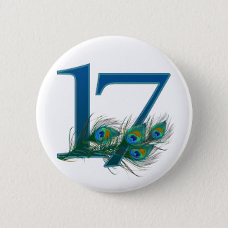 17th birthday or anniversary peacock numbers pinback button