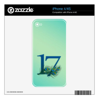 17th birthday or anniversary peacock numbers skin for the iPhone 4