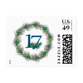 17th birthday or anniversary peacock numbers stamp