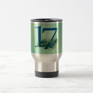 17th birthday or anniversary peacock numbers travel mug