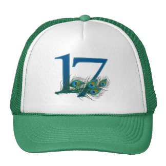 17th birthday or anniversary peacock numbers trucker hat