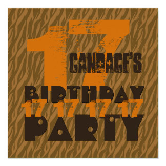 17th Birthday Party 17 Year Old Brown Zebra B17A Card