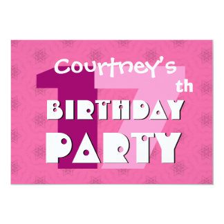 17th Birthday Party 17 Years Pink Stars W715 Card
