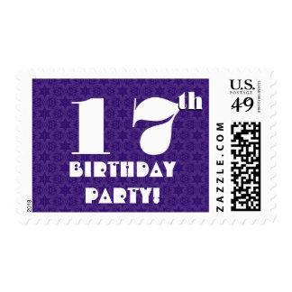 17th Birthday Party Big Bold Purple White W1217 Postage