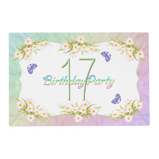 17th Birthday Party Butterflies and Wildflowers Placemat