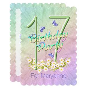 17th birthday invitations zazzle 17th birthday party butterfly garden invitation stopboris Choice Image