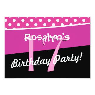 17th Birthday Party Cute Polka Dots Modern Card